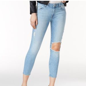 DL1961 FLORENCE CROP MID RISE SKINNY RIPPED JEANS